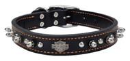 Harley-Davidson 1 in. Adjustable Leather Spiked Collar - Black w/ Orange Thread - Wisconsin Harley-Davidson