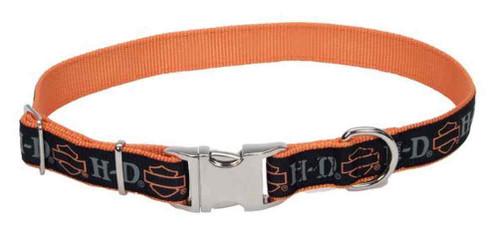Harley-Davidson Adjustable Designer Ribbon Premium Dog Collar - Black & Orange - Wisconsin Harley-Davidson