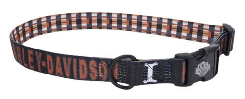 Harley-Davidson Adjustable H-D Block Plaid Dog Collar - Black & Orange - Wisconsin Harley-Davidson