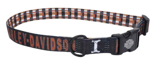 Harley-Davidson Adjustable H-D Block Plaid Dog Collar - Black & Orange - Wisconsin Harley-Davidson