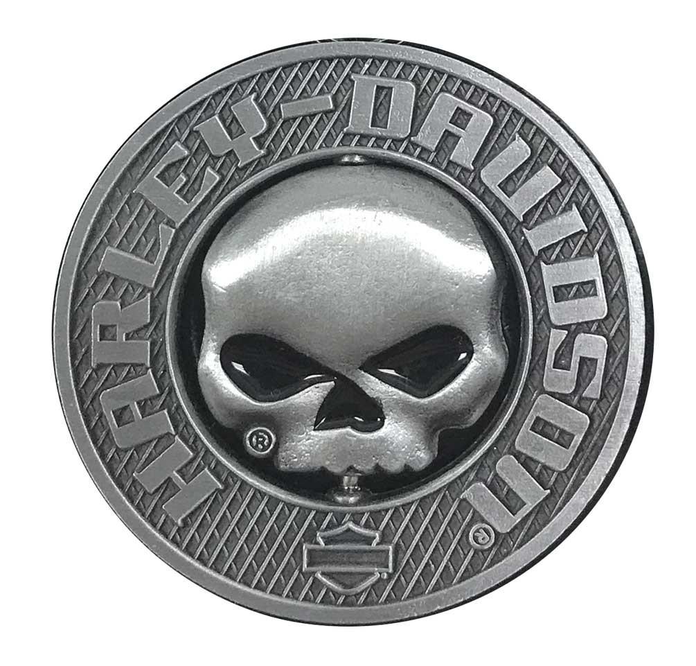 1d26b88624c Harley-Davidson 3D Willie G Skull Spinner Metal Pin, Silver Coloring,  210009 -
