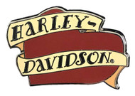 Harley-Davidson H-D Script Banners & Heart Pin, Red & Tan 1.75 x .75 Inch 302592 - Wisconsin Harley-Davidson