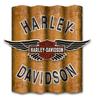 Harley-Davidson B&S Winged Cut-Out Corrugated Aluminum Sign A25-COR-MDFCU-HARL - Wisconsin Harley-Davidson