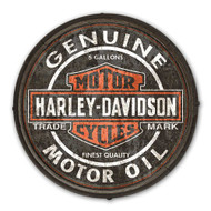Harley-Davidson Genuine Motor Oil B&S Wooden Barrel End Sign BE-CCGPX5-HARL - Wisconsin Harley-Davidson