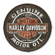 Harley-Davidson Genuine Motor Oil B&S Wooden Barrel End Sign BE-CCGPX5-HARL - Wisconsin Harley-Davidson