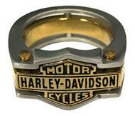 Harley-Davidson Men's Industrial Brass & Steel Ring, Stainless Steel HSR0036 - Wisconsin Harley-Davidson