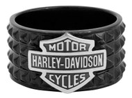 Harley-Davidson Men's Black Pyramid Bar & Shield Ring, Stainless Steel HSR0037 - Wisconsin Harley-Davidson