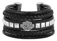Harley-Davidson Women's Leather Steel Bar & Shield Rope Bracelet, Black HSB0189 - Wisconsin Harley-Davidson