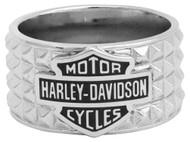 Harley-Davidson Men's Studded Pyramid Bar & Shield Ring, Stainless Steel HSR0043 - Wisconsin Harley-Davidson