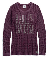 Harley-Davidson Women's Loose Weave Acid-Washed Raglan Sweater Purple 96071-18VW - Wisconsin Harley-Davidson