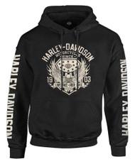 Harley-Davidson Men's Epic Eagle & Shield Pullover Hooded Sweatshirt, Black - Wisconsin Harley-Davidson