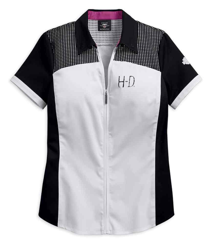 Harley Davidson Women S Mesh Accent Yoke Zip Up Shirt White 96145