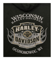 Harley-Davidson Men's Distressed Look Genuine Name Pullover Hoodie Black R002323 - Wisconsin Harley-Davidson