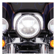 Ciro Fang LED Headlight Bezels, Fits Harley '96-'13 Touring - Chrome or Black - Wisconsin Harley-Davidson