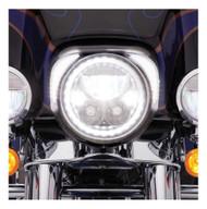Ciro Fang LED Headlight Bezels, Fits Harley '96-'13 Touring - Chrome or Black - Wisconsin Harley-Davidson