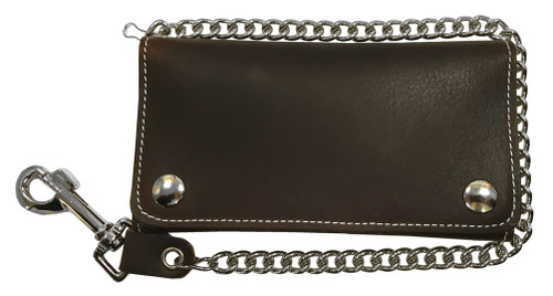 Biker Men's 7 in Premium Credit Card Tri-Fold Leather Wallet with Chain CP339 - Wisconsin Harley-Davidson