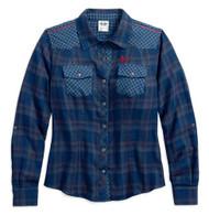 Harley-Davidson Women's Versatile Multi Plaid Shirt, Blue & Gray 96051-18VW - Wisconsin Harley-Davidson