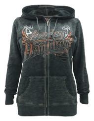 Harley-Davidson Women's Eagle Invincible Full-Zip Burnout Fleece Hoodie, Gray - Wisconsin Harley-Davidson