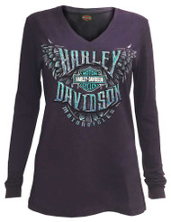 Harley-Davidson Women's Showroom Supremacy Long Sleeve V-Neck Jersey Shirt - Wisconsin Harley-Davidson