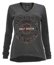 Harley-Davidson Women's Tempted Clone Long Sleeve Hi-Low Hem Pullover, Gray - Wisconsin Harley-Davidson