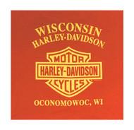 Harley-Davidson Little Boy's Chain Popper Short Sleeve Crew Tee, Orange - Wisconsin Harley-Davidson