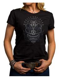 Harley-Davidson Women's Jagged Skull Short Sleeve Crew Shirt, Black 5J27-HE9C - Wisconsin Harley-Davidson
