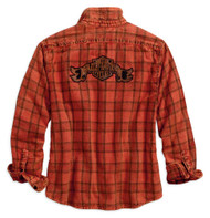 Harley-Davidson Women's Bar & Shield Patch Long Sleeve Plaid Shirt 96270-18VW - Wisconsin Harley-Davidson