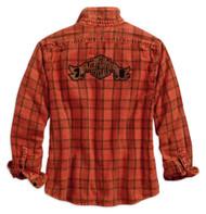 Harley-Davidson Women's Bar & Shield Patch Long Sleeve Plaid Shirt 96270-18VW - Wisconsin Harley-Davidson