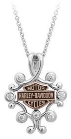 Harley-Davidson Womens Rhinestone Filigree Bar & Shield Drop Necklace HDN0415-16 - Wisconsin Harley-Davidson