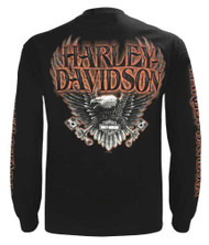 Harley-Davidson Men's Eagle Piston Long Sleeve Crew Shirt, Black 30299947 - Wisconsin Harley-Davidson