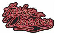 Harley-Davidson Embroidered Harley Flame Emblem Patch, SM 4 x 1.4375 in EM295812 - Wisconsin Harley-Davidson
