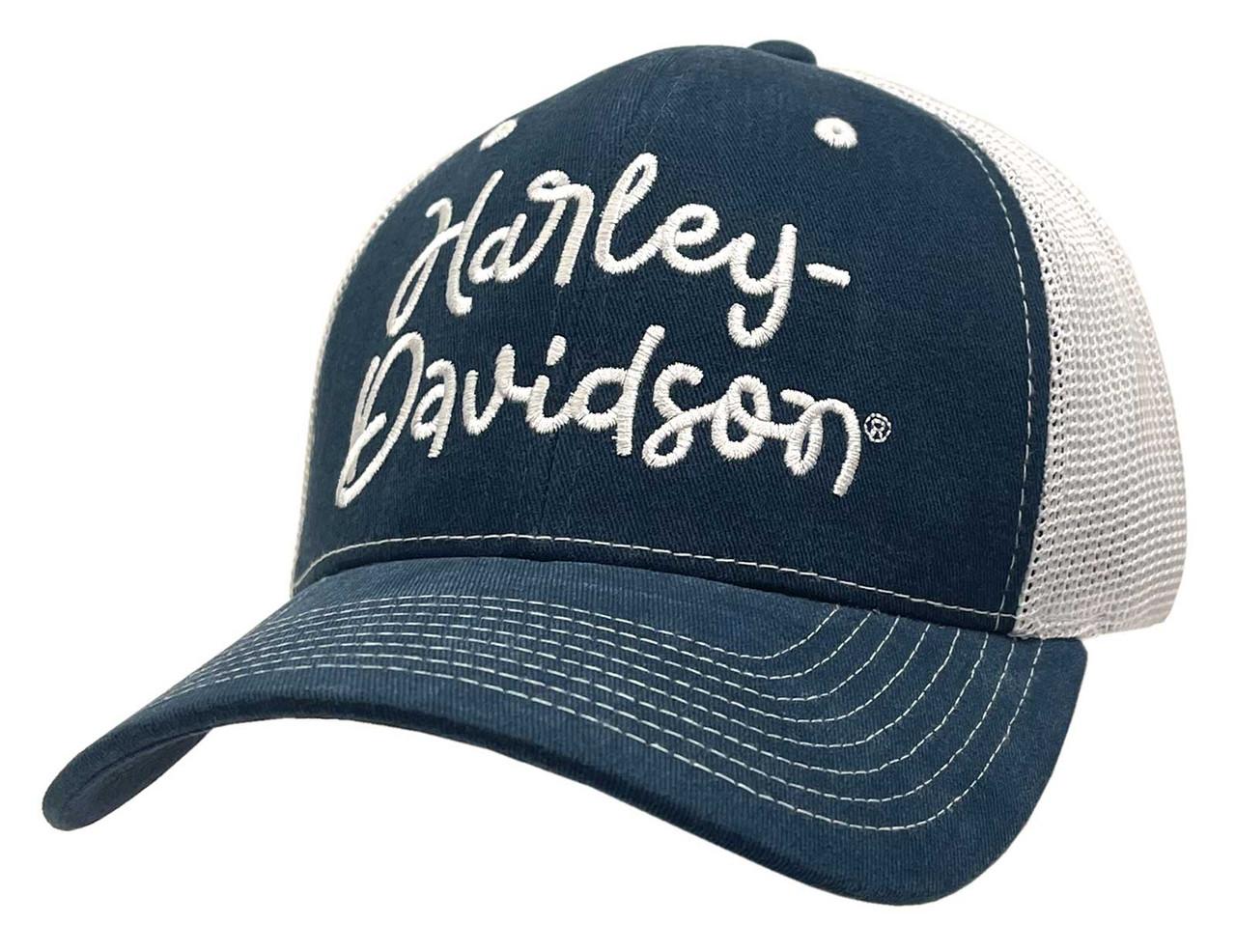 8d58ba3958f5c5 Harley-Davidson Women's Embroidered Harley Script Baseball Cap, Navy  BC28685 - Wisconsin Harley-
