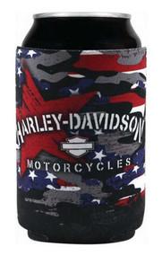 Harley-Davidson Patriotic Grunge Neoprene Can Flat Wrap, Black CF29084 - Wisconsin Harley-Davidson