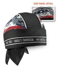Harley-Davidson Men's Patriotic Grunge Perforated Headwrap, Black HW29084 - Wisconsin Harley-Davidson