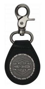 Harley-Davidson 2D Struck H-D Chain Keychain, Antique Nickel & Leather KY30806 - Wisconsin Harley-Davidson