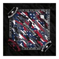 Harley-Davidson Men's Patriotic Grunge Bandana - Black, 24 x 24 inch BA29084 - Wisconsin Harley-Davidson