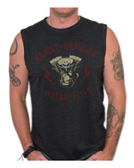 Harley-Davidson Men's Genuine Parts Premium Sleeveless Muscle Tank, Black Wash - Wisconsin Harley-Davidson