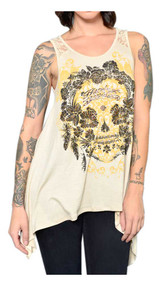 Harley-Davidson Women's Floral Embellished Lace Back Sleeveless Tank Top - Wisconsin Harley-Davidson