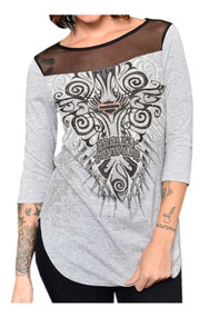 82e2e07f063507 Harley-Davidson® Women s Leaf it Embellished Cold Shoulder 3 4 ...