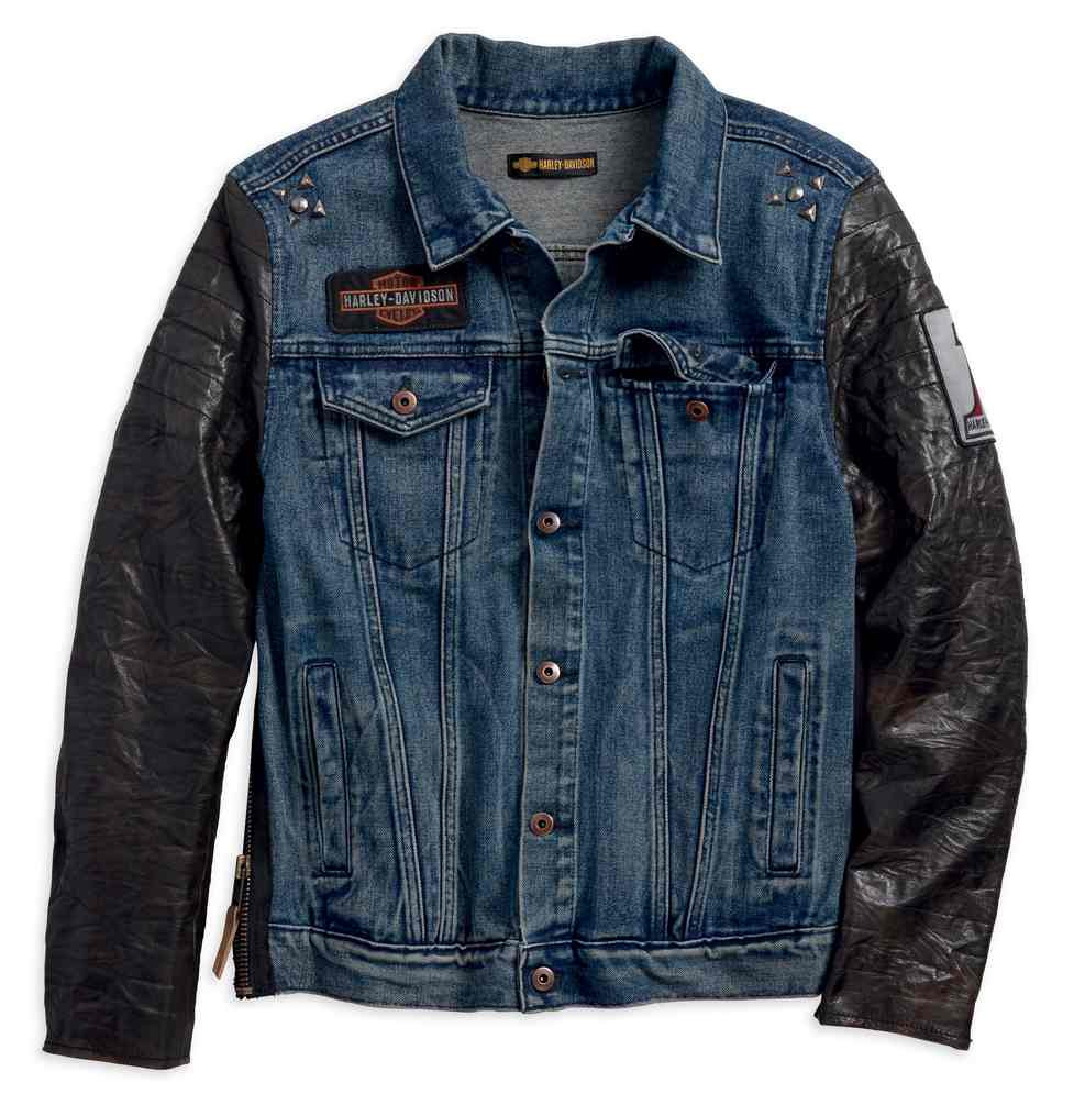b3e8b7d10927 Harley-Davidson® Men's #1 Leather Sleeve Slim Fit Denim Jacket, Blue ...