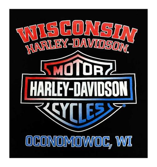 Harley-Davidson Men's RWB Bar & Shield Logo Short Sleeve Crew T-Shirt, Black - Wisconsin Harley-Davidson