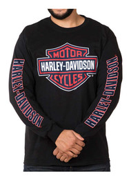 Harley-Davidson Men's RWB Bar & Shield Long Sleeve Crew Neck Shirt - Black - Wisconsin Harley-Davidson