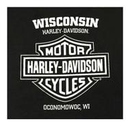 Harley-Davidson Men's RWB Bar & Shield Long Sleeve Crew Neck Shirt - Black - Wisconsin Harley-Davidson