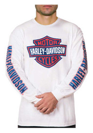 Harley-Davidson Men's RWB Bar & Shield Long Sleeve Crew Neck Shirt - White - Wisconsin Harley-Davidson