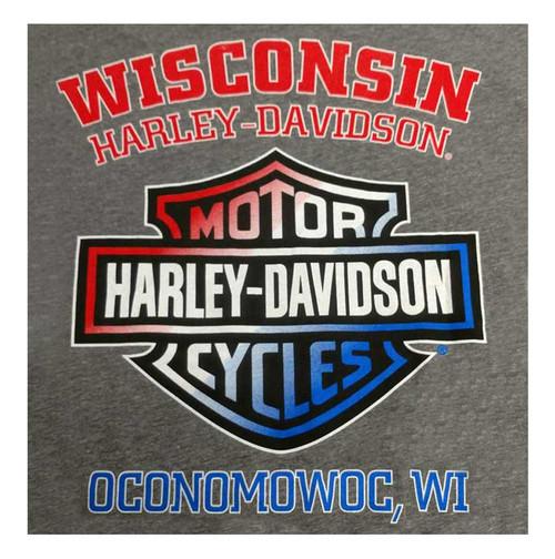 Harley-Davidson Men's American Poster Short Sleeve T-Shirt, Premium Heather Gray - Wisconsin Harley-Davidson