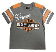 Harley-Davidson Little Boys' Genuine Short Sleeve Jersey Tee, Gray 1072827 - Wisconsin Harley-Davidson