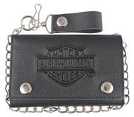 Harley-Davidson Men's B&S Embossed Trucker Tri-Fold Plus Wallet XML3514-BLACK - Wisconsin Harley-Davidson