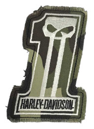 Harley-Davidson Dark Custom Camo #1 Skull Frayed Emblem Patch, 4 x 3 inches - Wisconsin Harley-Davidson