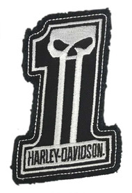 Harley-Davidson Dark Custom #1 Skull Frayed Emblem Patch, 4 x 3 inches - White - Wisconsin Harley-Davidson