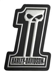 Harley-Davidson Dark Custom #1 Skull Leather & Foil Emblem Patch, 4 x 3 inches - Wisconsin Harley-Davidson